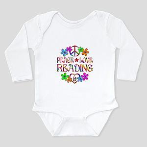 Peace Love Reading Long Sleeve Infant Bodysuit