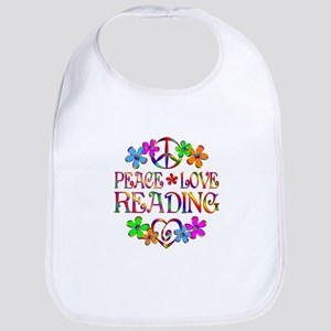 Peace Love Reading Bib