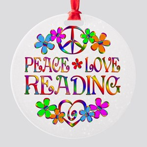 Peace Love Reading Round Ornament