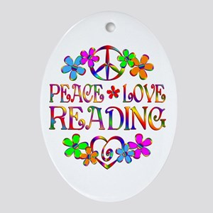 Peace Love Reading Ornament (Oval)