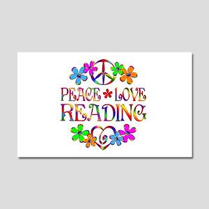 Peace Love Reading Car Magnet 20 x 12