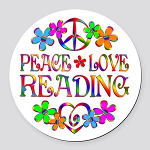 Peace Love Reading Round Car Magnet
