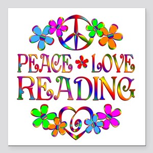 "Peace Love Reading Square Car Magnet 3"" x 3"""