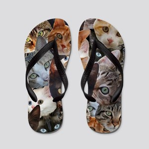 Kitty Collage Flip Flops