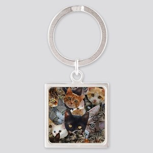Kitty Collage Square Keychain