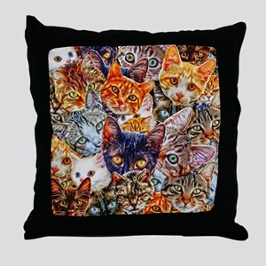 Kitty Cat Collage Throw Pillow