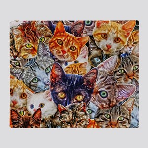 Kitty Cat Collage Throw Blanket