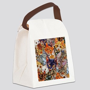 Kitty Cat Collage Canvas Lunch Bag