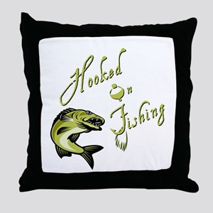 HOOKED ON FISHING Throw Pillow