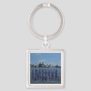 Liverpool Skyline Blue Keychains