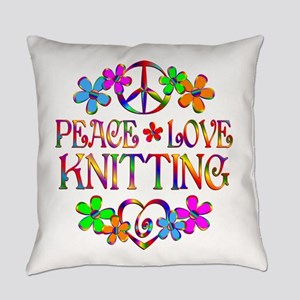 Peace Love Knitting Everyday Pillow