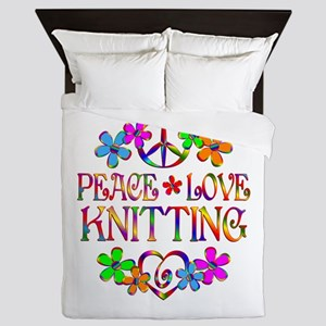 Peace Love Knitting Queen Duvet