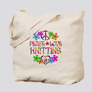 Peace Love Knitting Tote Bag