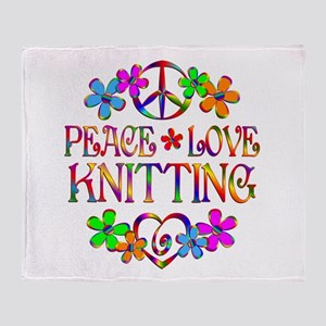 Peace Love Knitting Throw Blanket