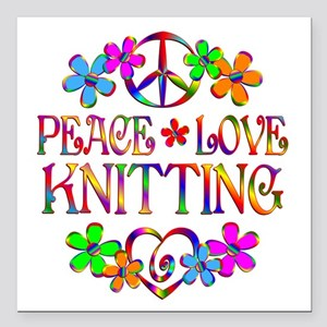 "Peace Love Knitting Square Car Magnet 3"" x 3"""