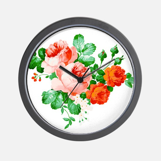 Red And Pink Roses Wall Clock
