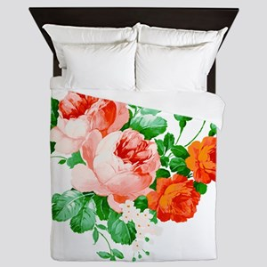 Red And Pink Roses Queen Duvet