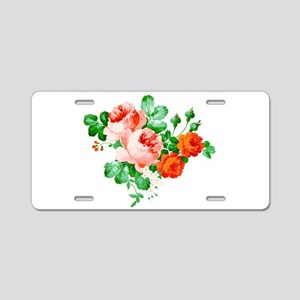 Red And Pink Roses Aluminum License Plate