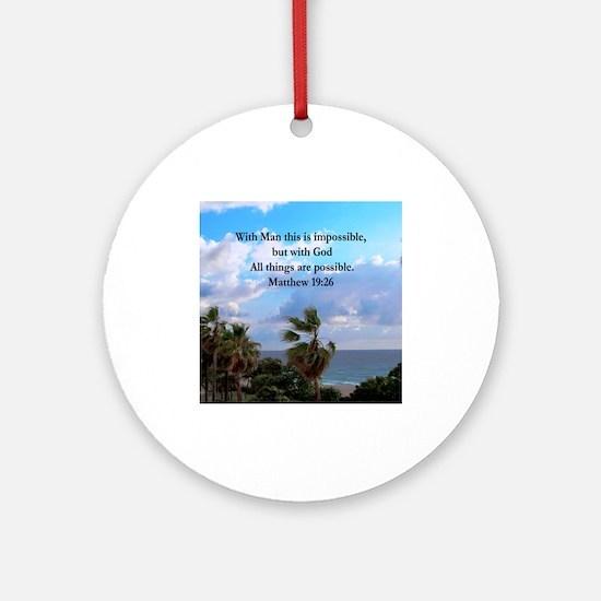 MATTHEW 19:26 VERSE Ornament (Round)