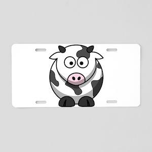 Cartoon Cow Aluminum License Plate