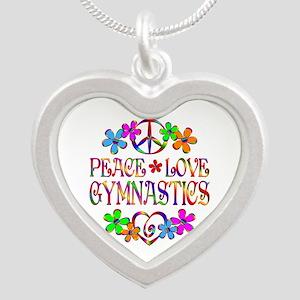 Peace Love Gymnastics Silver Heart Necklace