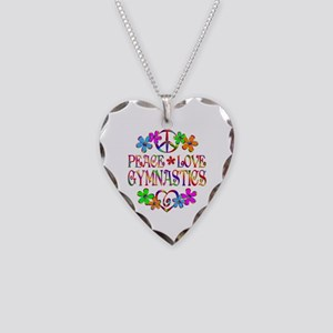 Peace Love Gymnastics Necklace Heart Charm