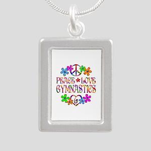 Peace Love Gymnastics Silver Portrait Necklace
