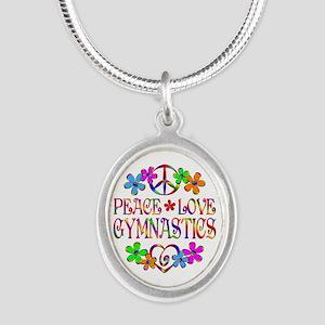 Peace Love Gymnastics Silver Oval Necklace