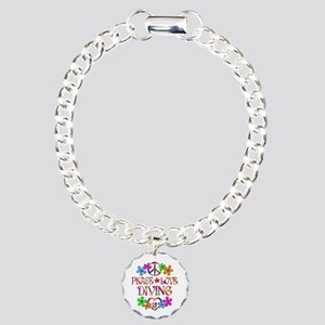 Peace Love Diving Charm Bracelet, One Charm