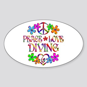 Peace Love Diving Sticker (Oval)