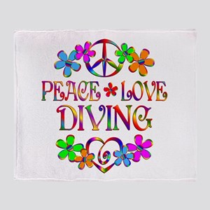 Peace Love Diving Throw Blanket