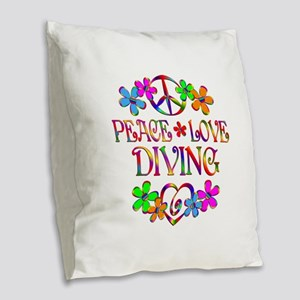 Peace Love Diving Burlap Throw Pillow