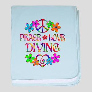Peace Love Diving baby blanket