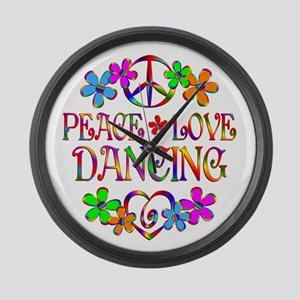Peace Love Dancing Large Wall Clock