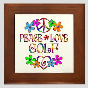 Peace Love Golf Framed Tile