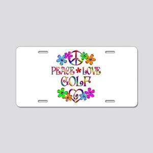 Peace Love Golf Aluminum License Plate