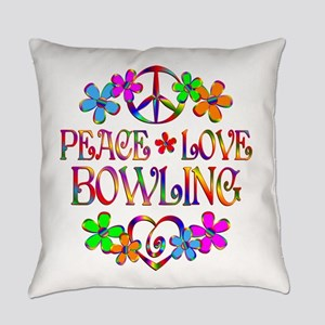 Peace Love Bowling Everyday Pillow