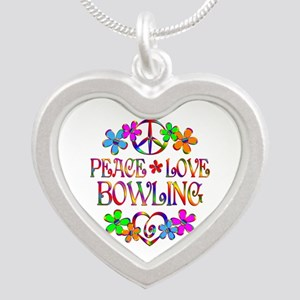 Peace Love Bowling Silver Heart Necklace