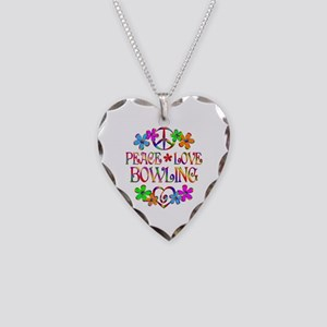 Peace Love Bowling Necklace Heart Charm