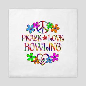 Peace Love Bowling Queen Duvet
