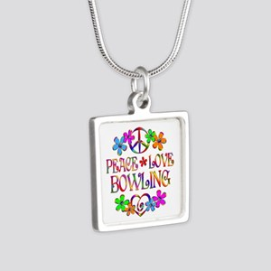 Peace Love Bowling Silver Square Necklace