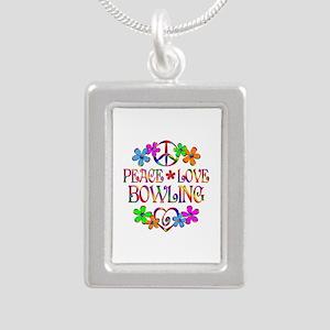 Peace Love Bowling Silver Portrait Necklace