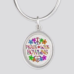 Peace Love Bowling Silver Oval Necklace