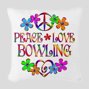 Peace Love Bowling Woven Throw Pillow