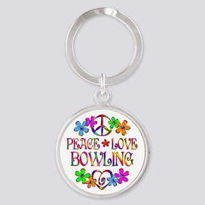 Peace Love Bowling Round Keychain