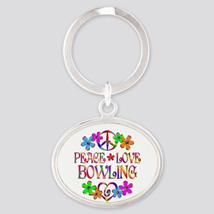 Peace Love Bowling Oval Keychain