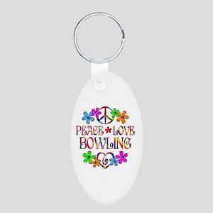 Peace Love Bowling Aluminum Oval Keychain