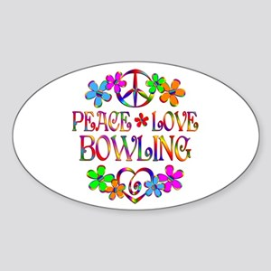 Peace Love Bowling Sticker (Oval)