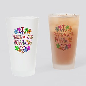 Peace Love Bowling Drinking Glass