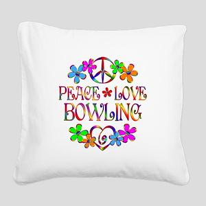 Peace Love Bowling Square Canvas Pillow